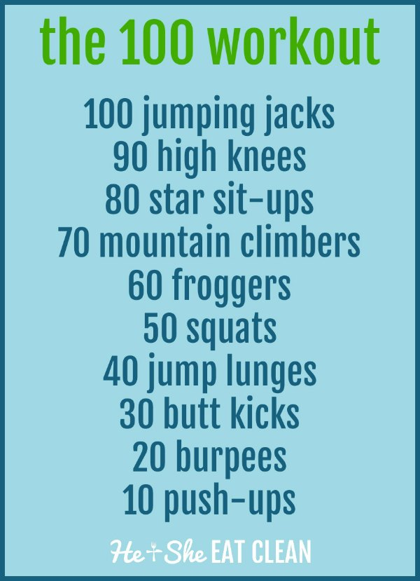 the 100 workout - HIIT workout with exercises listed