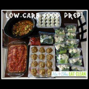 food prep on a counter with text that reads low carb food prep