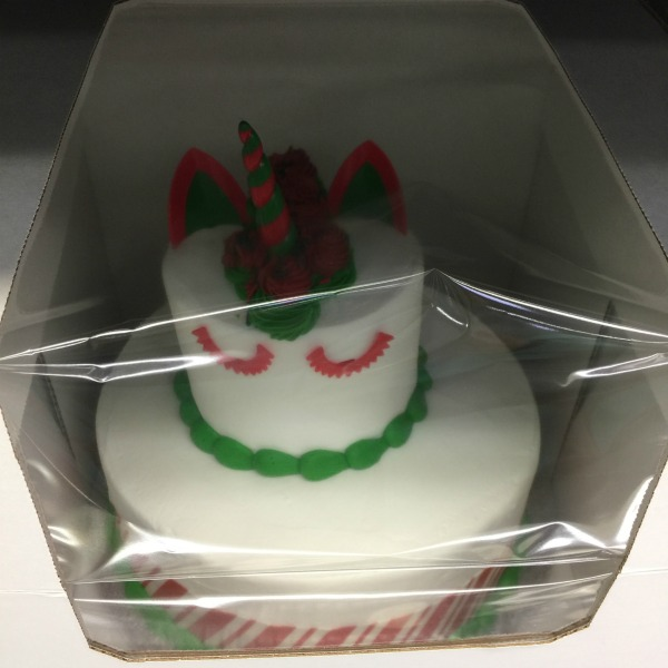 Christmas Unicorn Two Tier Cake From Sams Club White With Red And Green Icing
