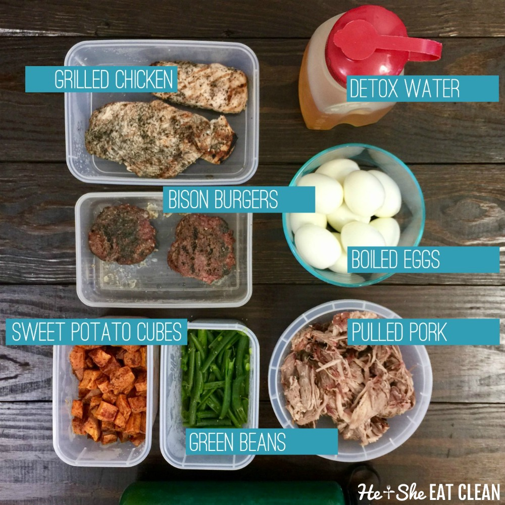 overhead shot of clean eating food prep on a wooden table