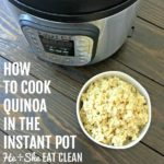 cooked quinoa in a white bowl on a wooden table with text that reads how to cook quinoa in the Instant Pot square image