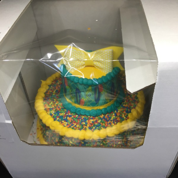two tier sprinkle cake from Sam's Club