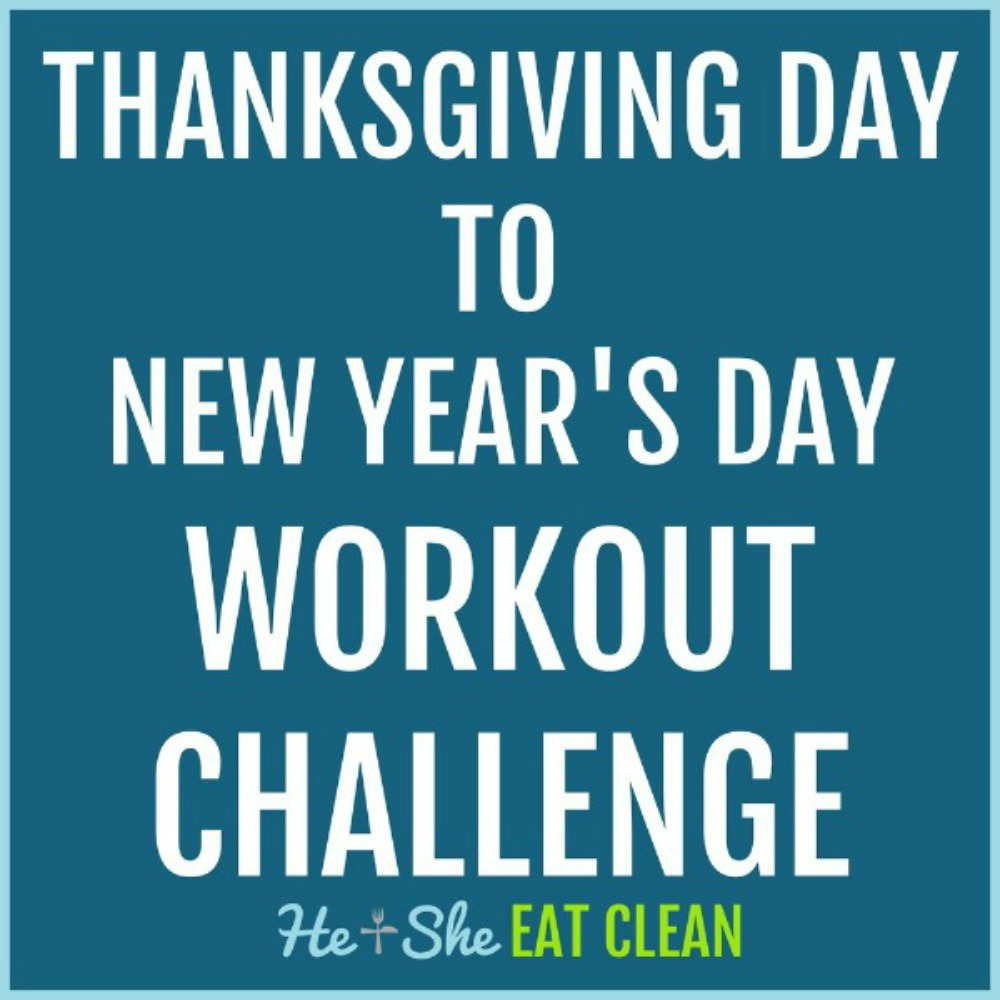 text reads Thanksgiving Day to New Year's Day workout challenge