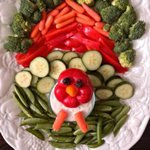 vegetable tray in the shape of a turkey square photo