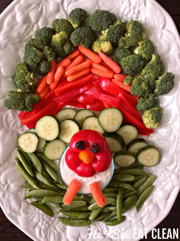 vegetable tray in the shape of a turkey