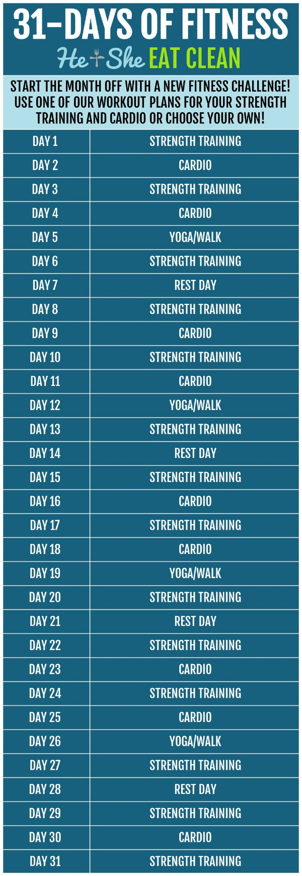 31 days of fitness workout challenge