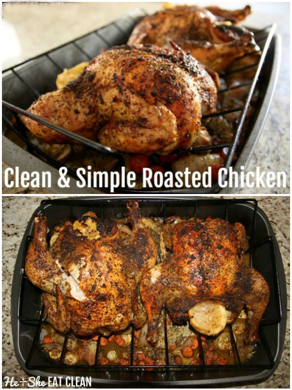 collage of roasted chicken with text that reads clean & simple roasted chicken
