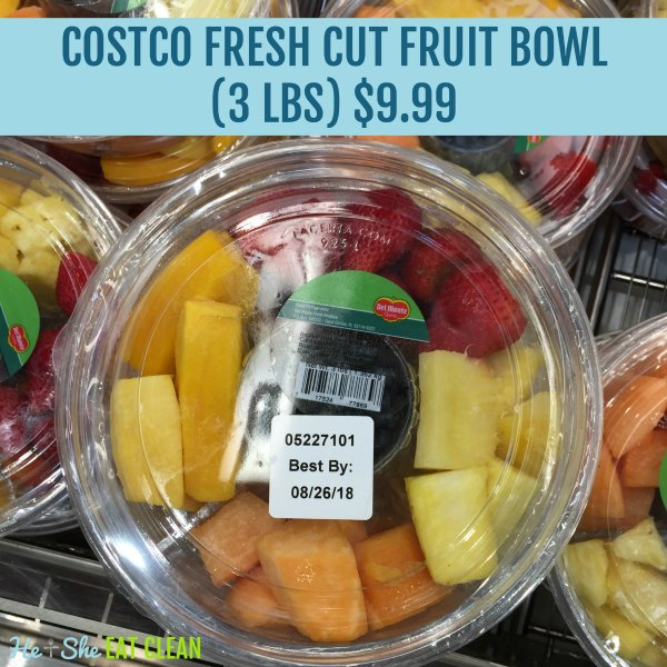 fresh cut fruit in a plastic container from Costco including strawberries and pineapple. Text reads Costco fresh cut fruit bowl (3 lbs) $9.99