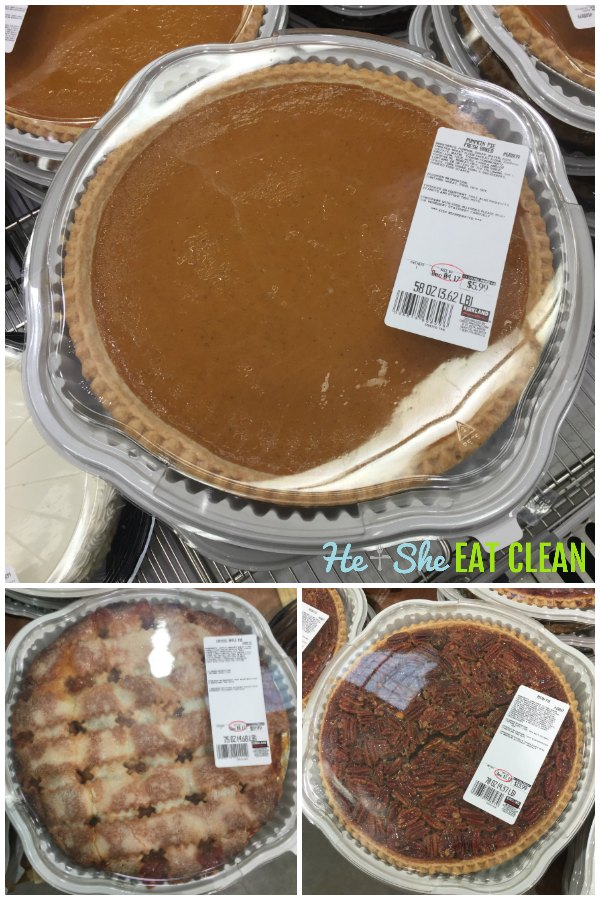 collage of pictures of Costco apple pies, pumpkin pies, pecan pies