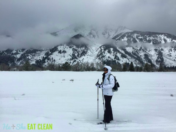 female cross country skiing in Grand Teton National Park