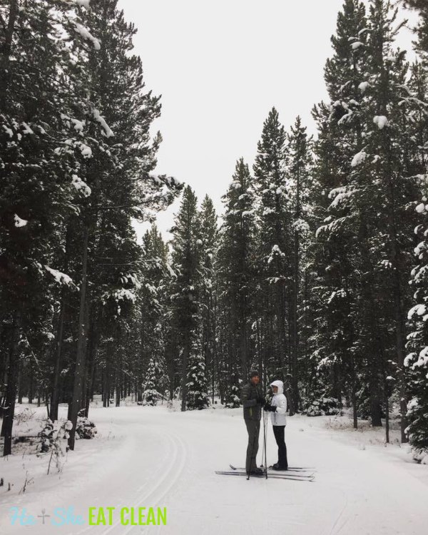male and female cross country skiing in West Yellowstone, Montana