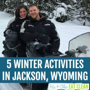 male and female on a snowmobile in Yellowstone National Park with text that reads 5 Winter Activities for Non-Skiers in Jackson, Wyoming square image