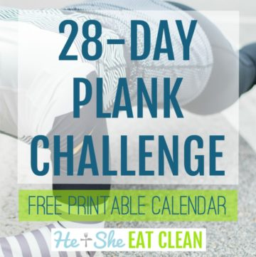 female doing a plank with text that reads 28-day plank challenge square image