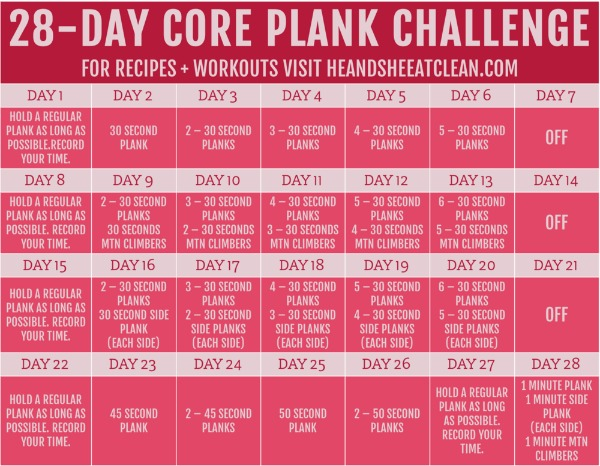 28 Day Core Plank Challenge Calendar