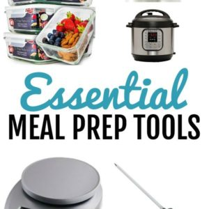 image of different meal prep kitchen tools in a collage