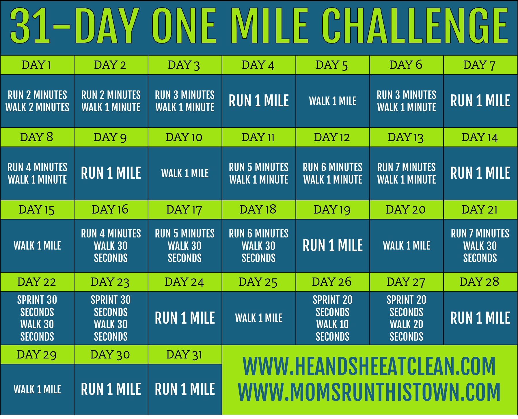 31-Day One Mile Challenge