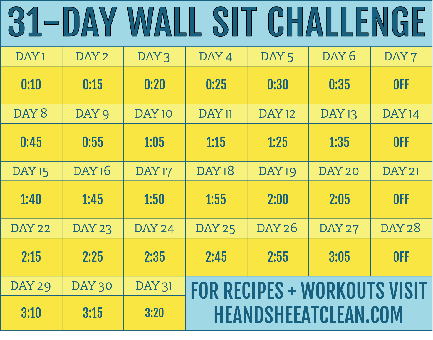 31-Day Wall Sit Challenge