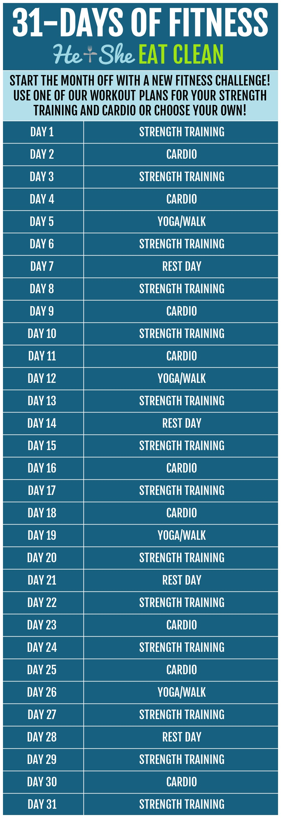 31 Days of Fitness Strength Training and Cardio Challenge