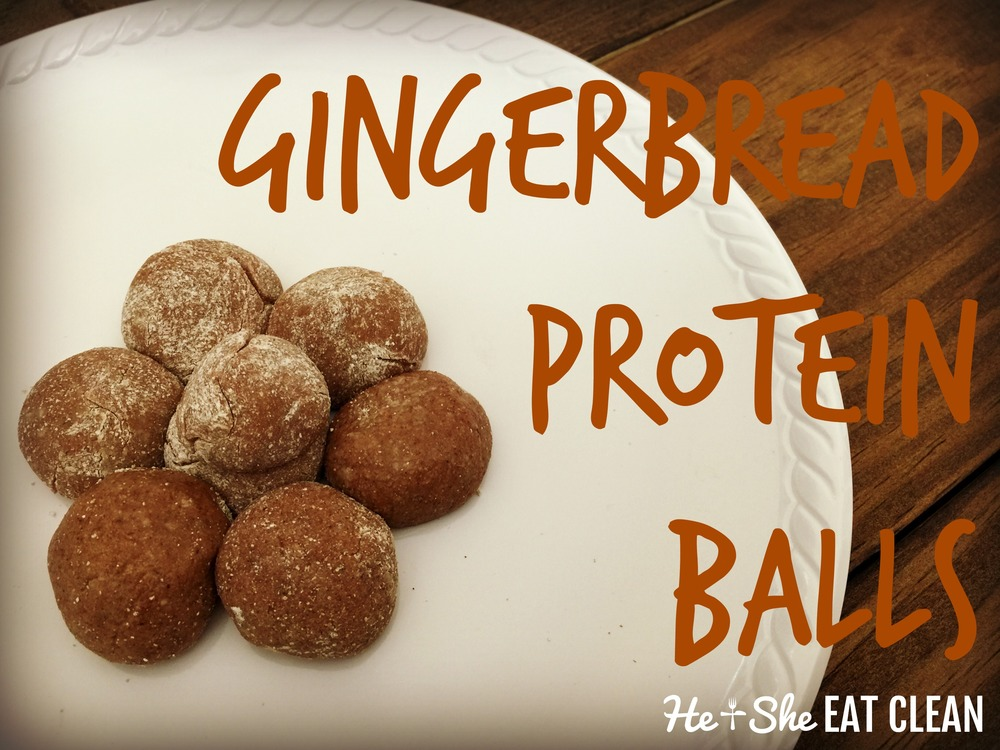 Gingerbread protein balls on a white plate on a wooden table