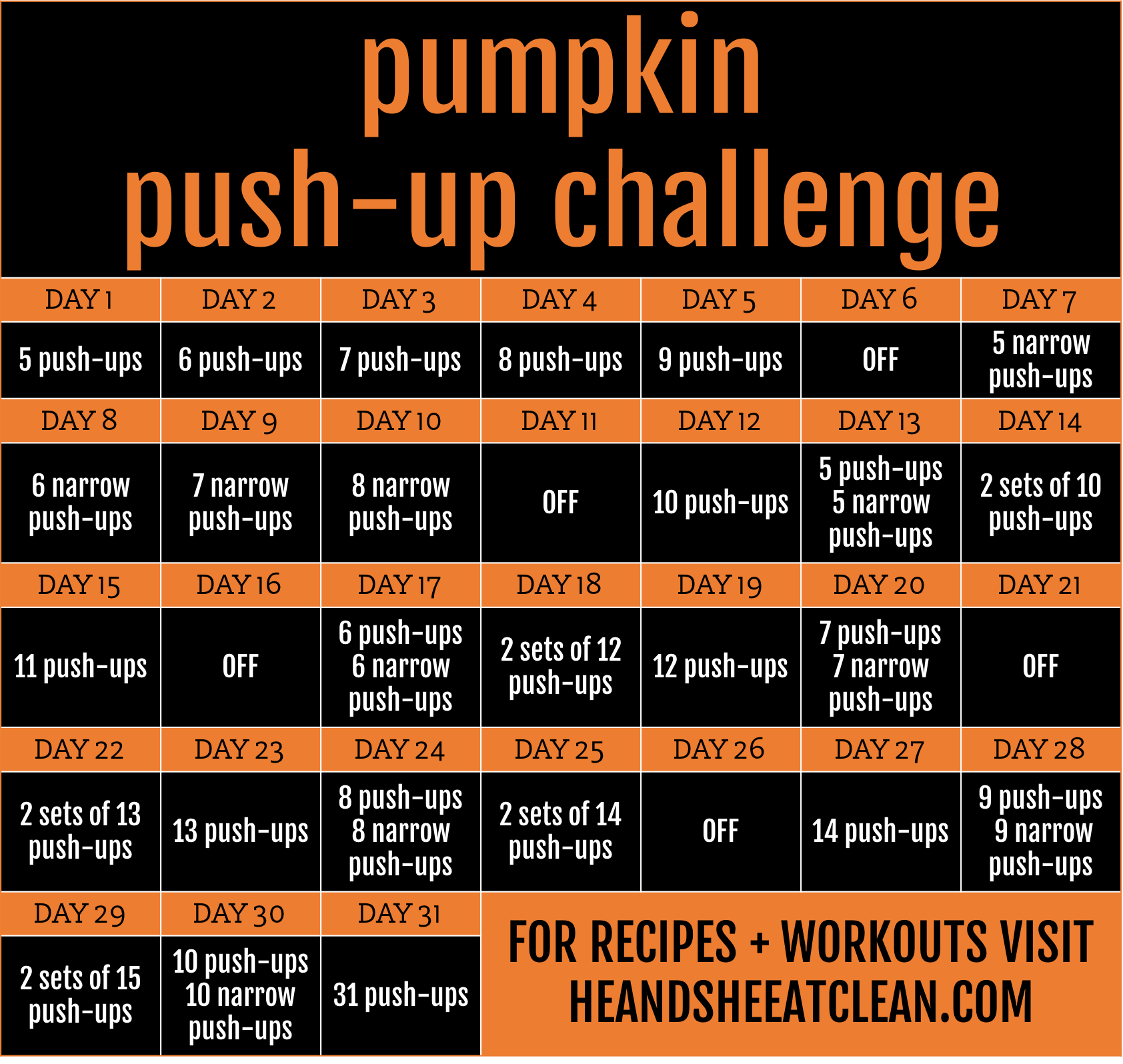 31-Day Pumpkin Push-Up Challenge