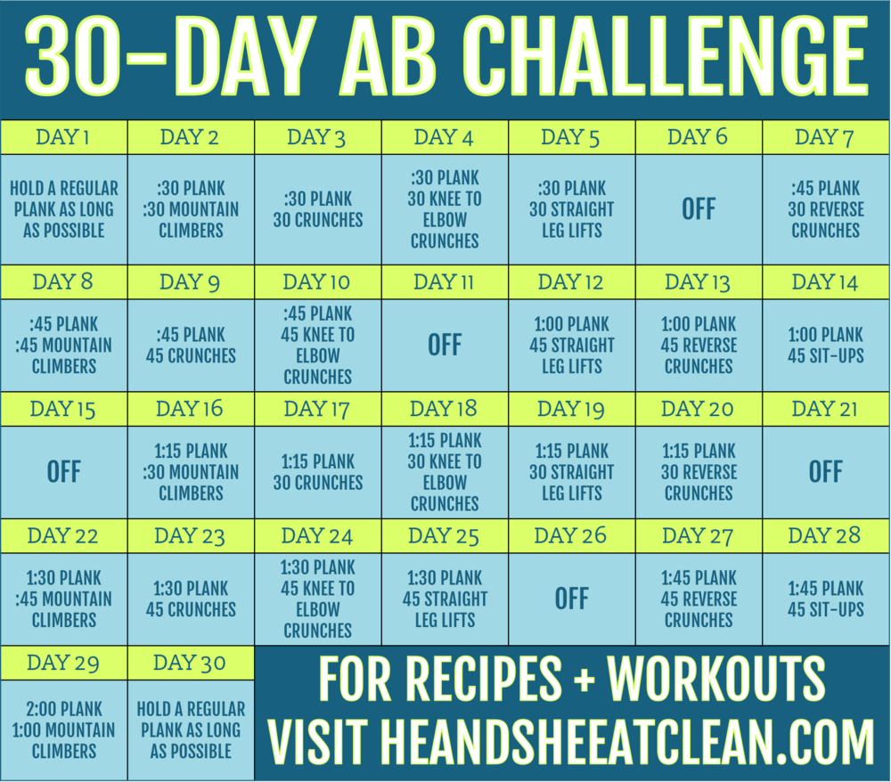 30 day ab challenge. Black Bedroom Furniture Sets. Home Design Ideas