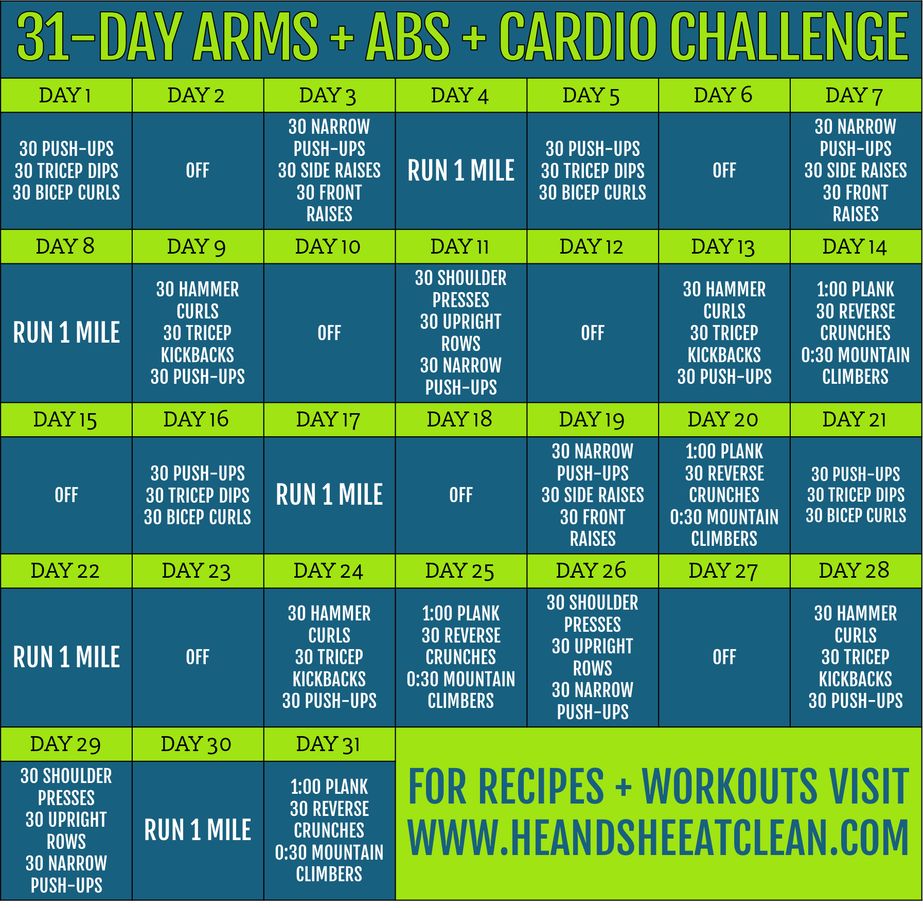 31 Day Arms Abs Cardio Challenge