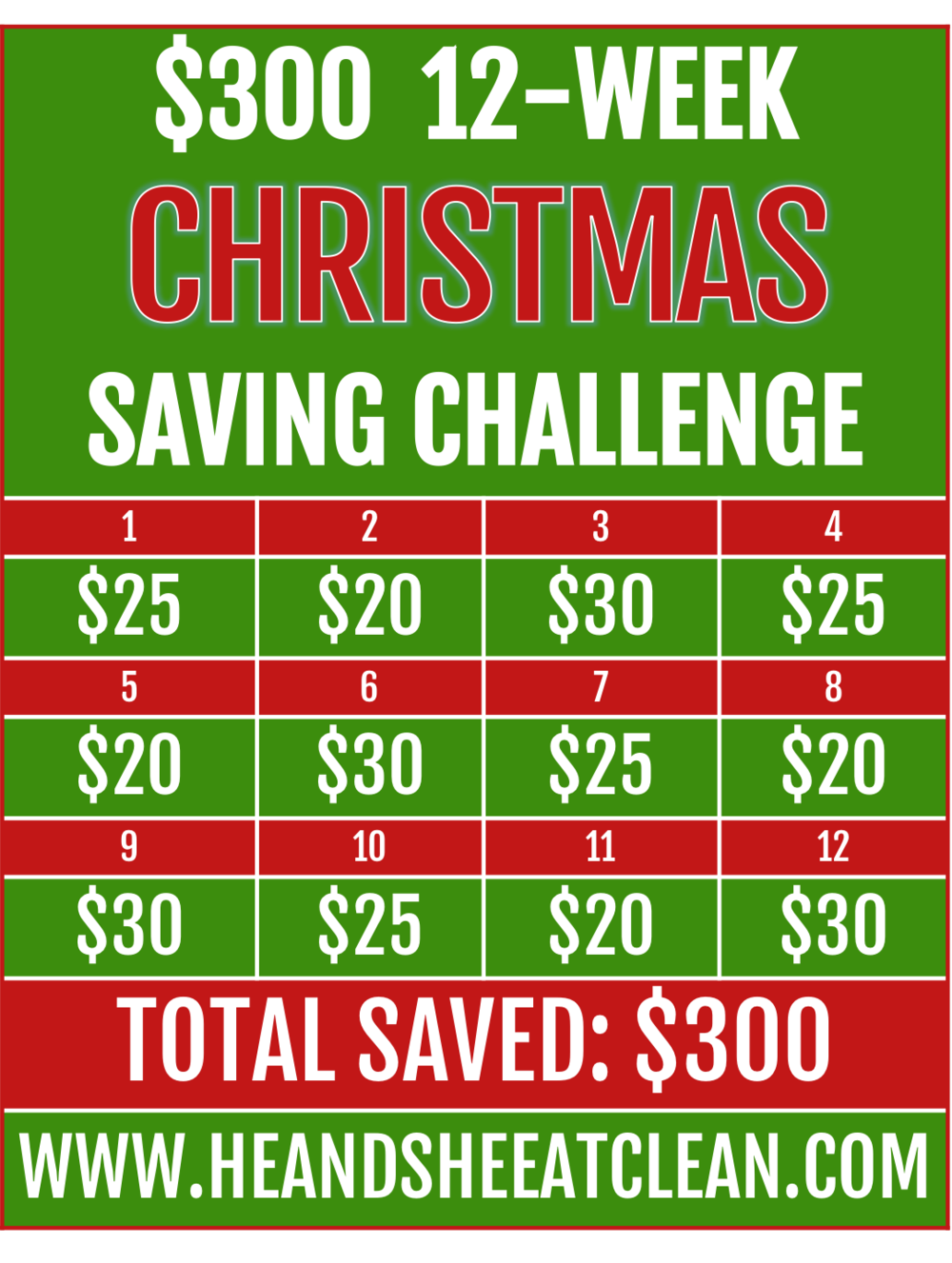 $300 12-Week Christmas Saving Challenge | He and She Eat Clean