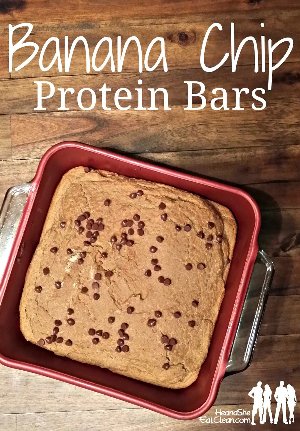 banana chocolate chip protein bars in a red dish place on a wooden table