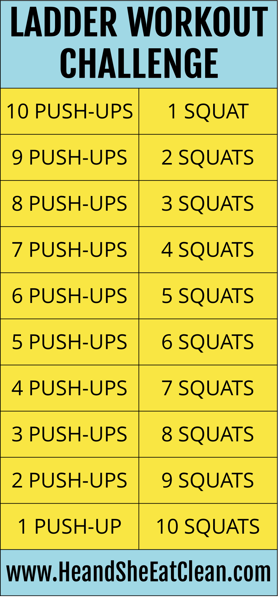 Ladder Workout Challenge: Push-Ups + Squats
