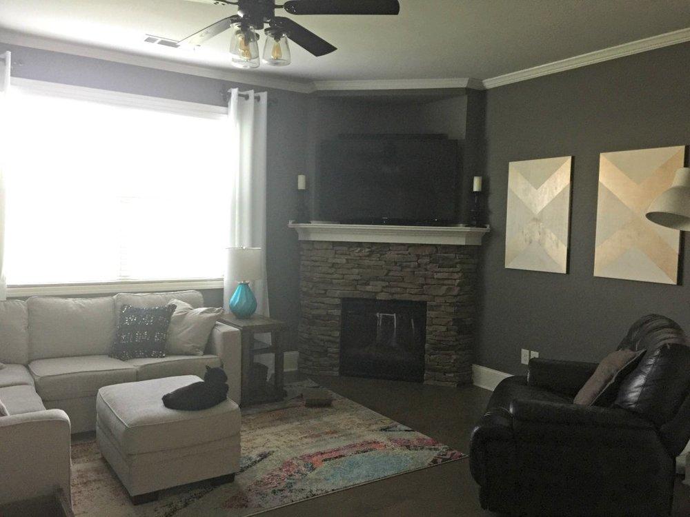 Living Room in Sherwin Williams Gauntlet Gray