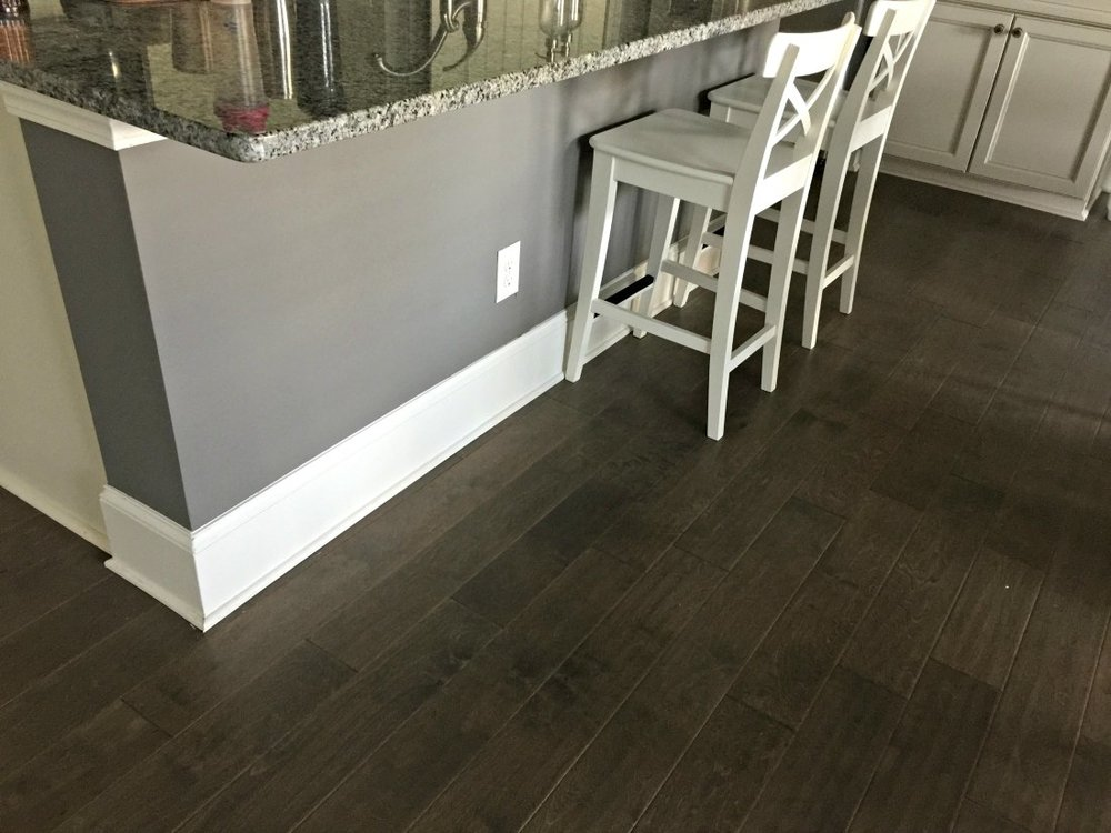 Kitchen Island Painted in Sherwin Williams Gauntlet Gray