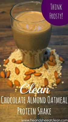 Chocolate Almond Oatmeal Protein Shake | He and She Eat Clean