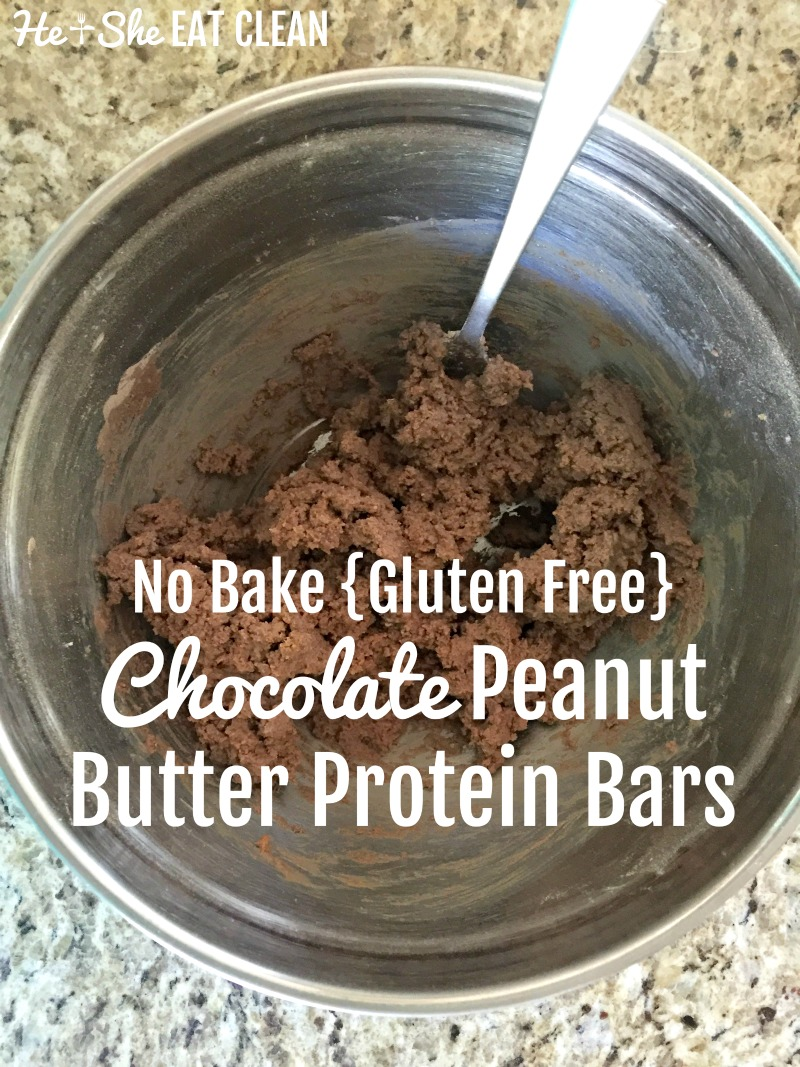 No Bake {Gluten Free} Chocolate Peanut Butter Protein Bars | He and She Eat Clean