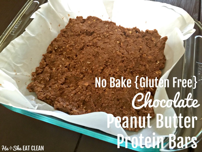 No Bake Chocolate Peanut Butter Protein Bars