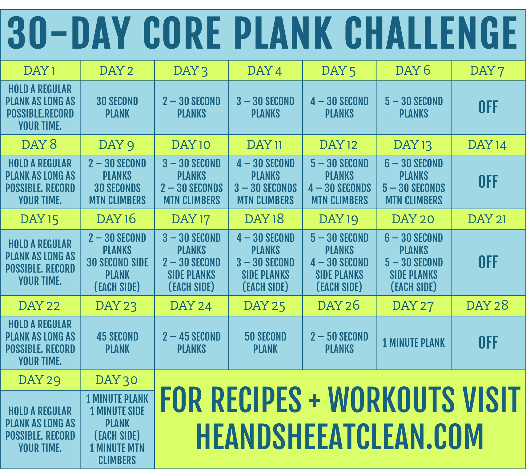 30-Day Core Plank Challenge