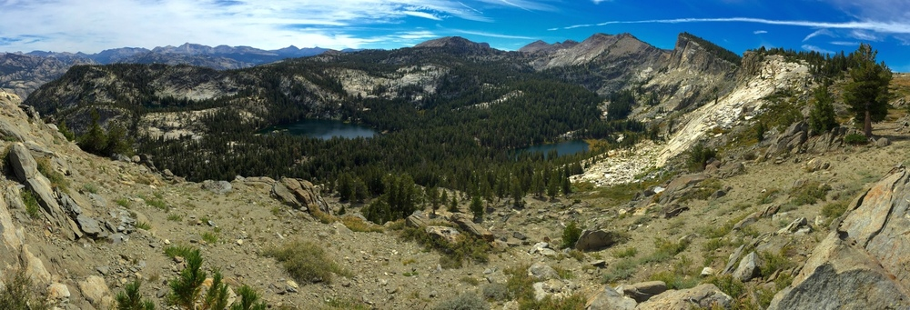 The amazing panoramic view of Ten Lakes Basin (center) and the Sierra Crest (far left).