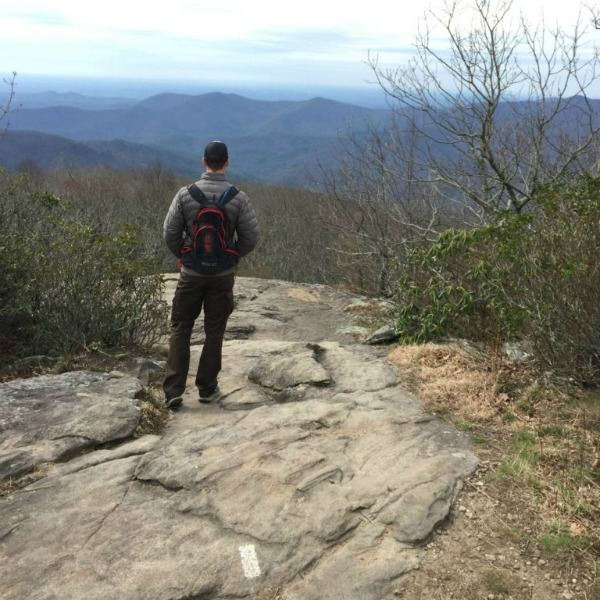 male Hiking Blood Mountain on the Appalachian Trail in Georgia