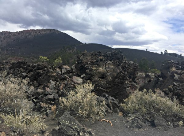 Black Lava and Rocks at the Wupatki National Monument Sunset Crater Volcano National Monument