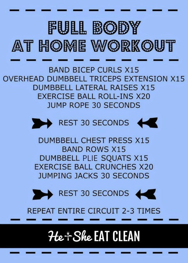 text reads full body at home workout with the workout listed
