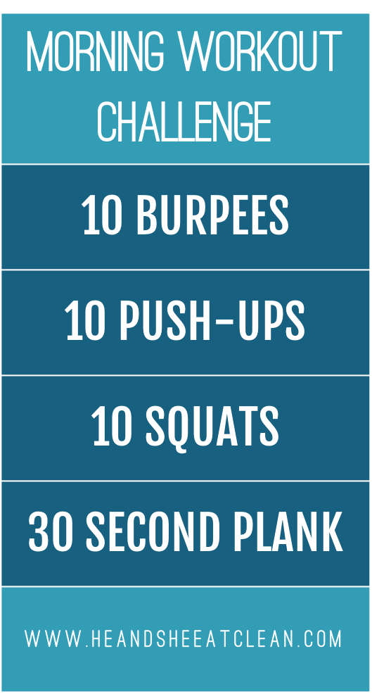 blue workout challenge with 10 burpees, 10 push-ups, 10 squats and a 30 second plank