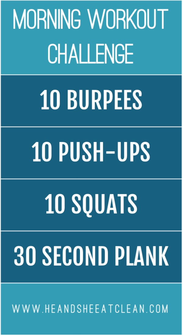 text reads morning workout challenge workout listed