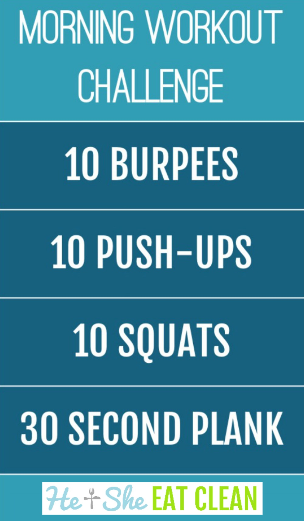 morning workout challenge listed with burpees, push-ups, squats, and planks