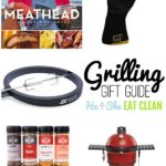college of different grilling accessories including a meathead book, seasonings, black gloves, red kamado joe grill
