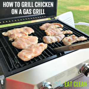 chicken breasts on a tabletop gas grill