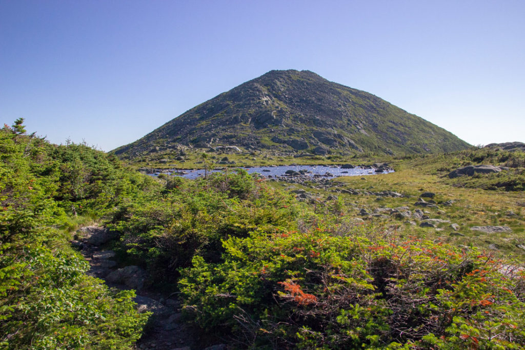 mountain with lake in front of it surrounded by green brush in the White Mountains of New Hampshire