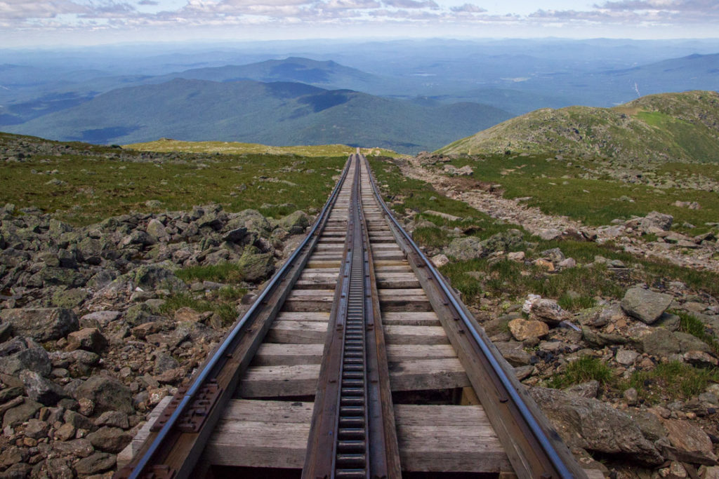 Mount Washington Cog Railway train tracks leading down Mount Washington