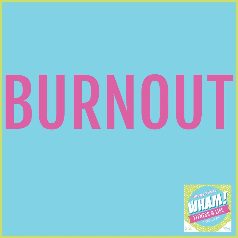 pink text spelling burnout with a blue background and green border