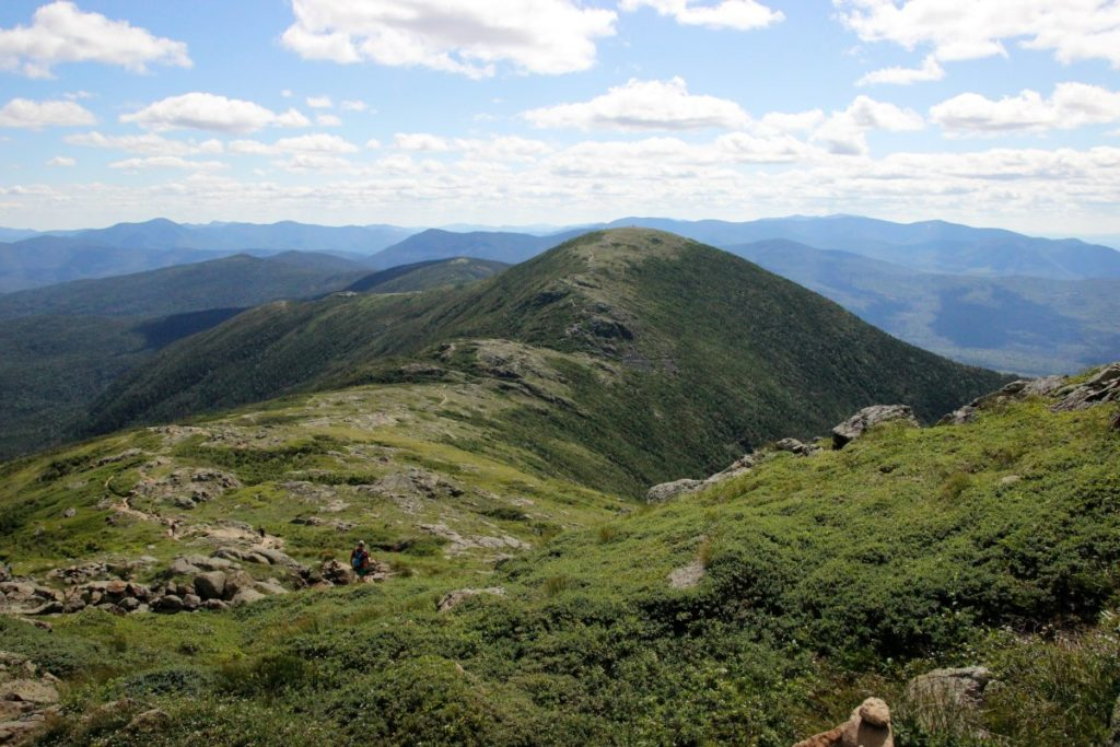 mountain range of the Presidential Traverse in the White Mountains of New Hampshire
