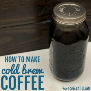 clear glass of cold brew coffee with lid on a white tabletop with text that reads how to make cold brew coffee