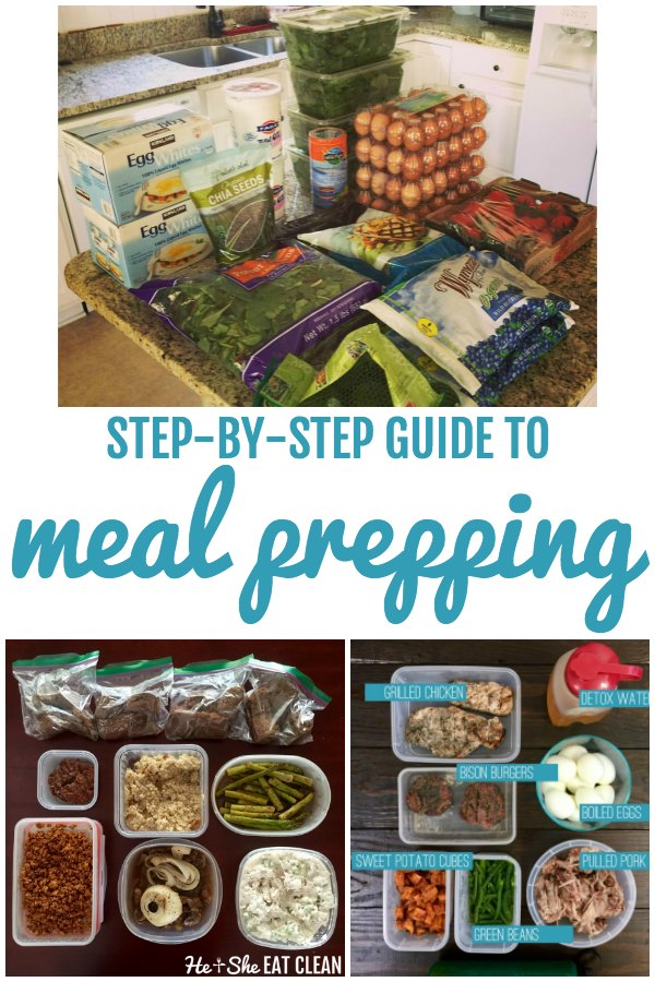 3 pictures of food ingredients and prepared meals in a collage with the word step-by-step guide to meal prepping